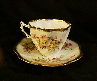 Rosina Pink and White Floral Gold Trim Teacup and Saucer Estate Find