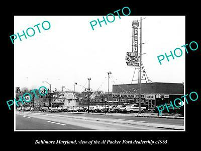 OLD LARGE HISTORIC PHOTO OF BALTIMORE MARYLAND, AL PACKER FORD DEALERSHIP c1965