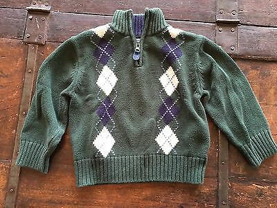 Heartstrings Green Navy Argyle Half Zip Sweater 3t Cotton
