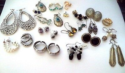 Lot of 22 sets of sterling silver earrings *lots of turquoise*
