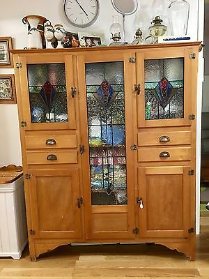 Vintage Timber Kitchen Cabinet/Dresser with leadlight doors.