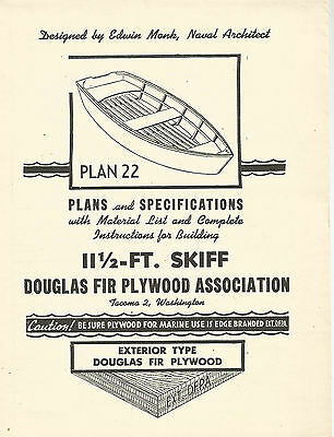 Edwin Monk 11 1/2 foot Skiff Blueprint Naval Architect  Plan 22 Boating Maritime
