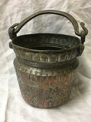 Antique Islamic  Engraved Copper Pot With Handle
