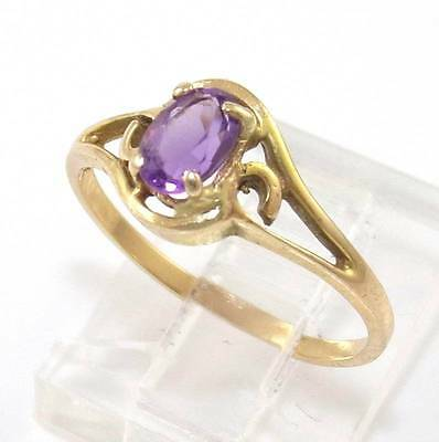 Solid 14K Yellow Gold Purple Amethyst Solitaire Ring Size 6