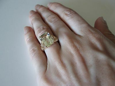 NEW 14 K Gold Women's Band Ring with 6 Carat Heliodor Stones, size 7