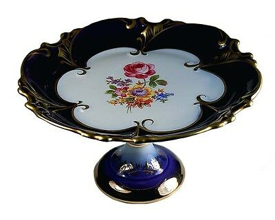 Gorgeous German Porcelain Footed Compote Cobalt Blue Gold & Floral Minty!