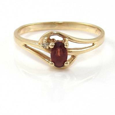 Solid 10K Yellow Gold Natural Diamond Red Garnet Ring Size 6.5