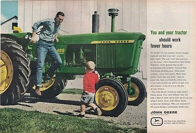 1962 John Deere 4010 Tractor Ad - 2-Page - Dad & Son In Photo Ad