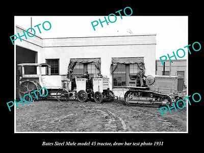 Old Large Historic Photo Of Bates Steel Mule 45 Tractor 1931 Test Photo