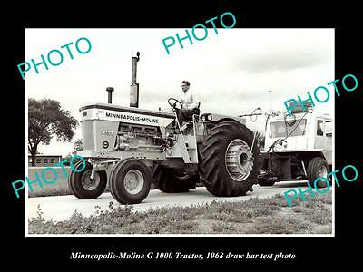 Old Large Historic Photo Of Minneapolis Moline G 1000 Tractor 1968 Test Photo