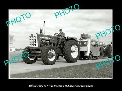 Old Large Historic Photo Of Oliver 1800 Mfwd Tractor 1962 Test Photo