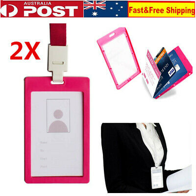 2 x Plastic Business ID Badge Card Vertical Holder with Neck Strap Lanyard Pink