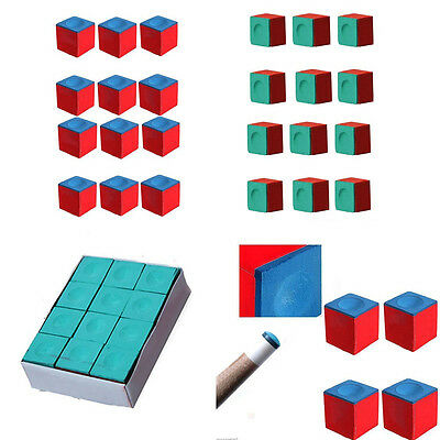 12PCS/Box Table Snooker Pool Cue Stick Tips Chalks Cubes Sports Accessory