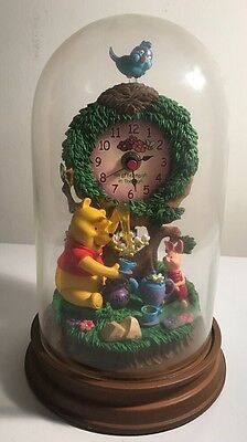 Winnie The Pooh Glass Dome Pendulum Clock Piglet Disney Afternoon In The Sun