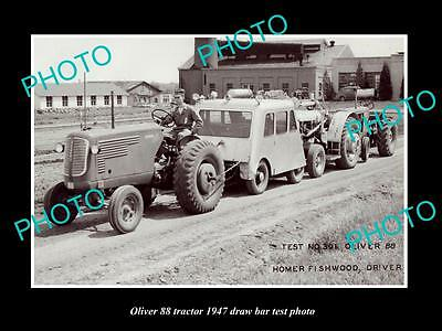 Old Large Historic Photo Of Oliver 88 Tractor 1947 Test Photo