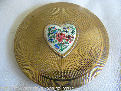 Vintage Brass Compact England Heart Powder Puff Sifter Floral Made Great Britain