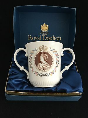"Royal Doulton Queen Mother 80th Birthday Commemorative 4""  Loving Cup Boxed"
