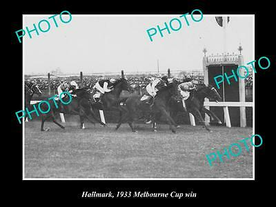 Old Large Horse Racing Photo Of Hallmark Winning The 1933 Melbourne Cup