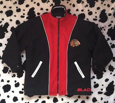 *RARE* Vtg Chicago Blackhawks Coat Jacket Tracksuit Top NHL Ice Hockey Shirt Lg