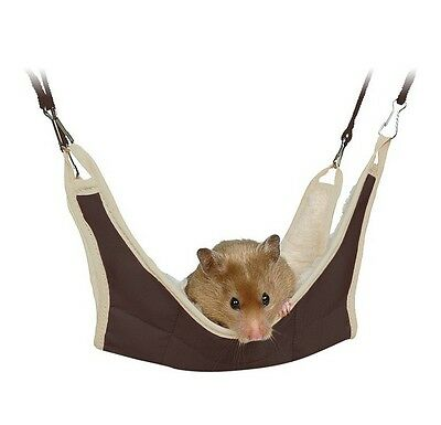 New - Trixie Hamster Hanging Hammock Cage Bed Green Or Brown 18 x 18 cm 62691