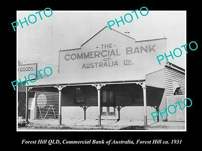OLD LARGE HISTORIC PHOTO OF FOREST HILL QLD, COMMERCIAL BANK OF AUSTRALIA c1931