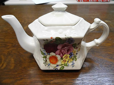 """Kernewek Pottery Flower Tea Pot , Goonhaven Cornwall 8"""" from spout to handle"""