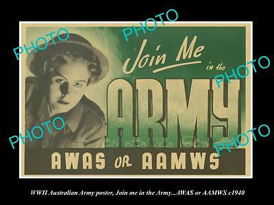 OLD LARGE HISTORIC PHOTO OF WWII AUSTRALIAN WOMENS ARMY RECRUITNG POSTER c1940