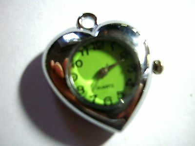 1 x  Silver Tone Quartz Watch Face For Necklace/fob  Beading lot 34