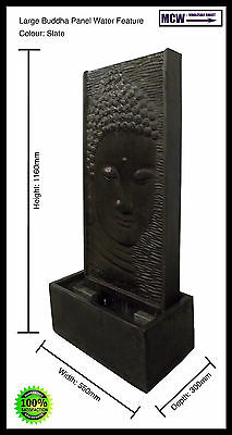 Fountain, Water Feature: Large Buddha Panel Water Feature - Slate