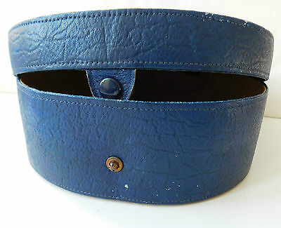 Lightweight old blue collar box Vintage travel luggage case Horse shoe shape