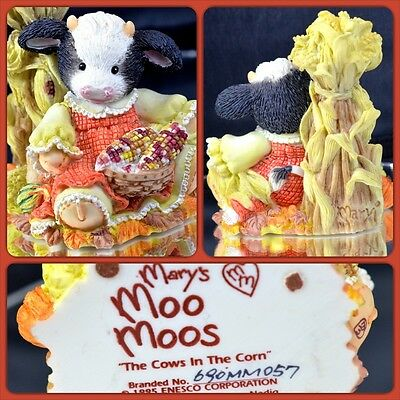 """MARY'S MOO MOOS """"THE COWS IN THE CORN"""" Mary Rhyner Resin Classic Figurines"""