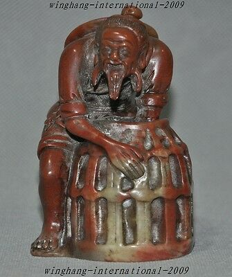 Old Chinese Shoushan Stone Hand-Carved Old man people Statue Seal Stamp signet