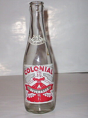 "1956-""colonial Beverages""(Clear)-Bethel Park, Pennsylvania 7 Ounce Soda Bottle"