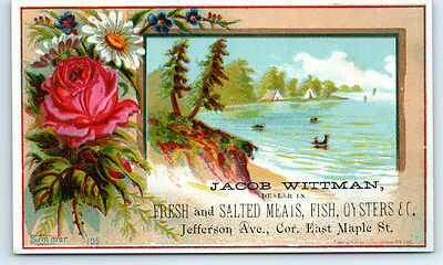 1800's Antique JACOB WITTMAN FISH & OYSTERS Victorian Trade Card ROCHESTER NY
