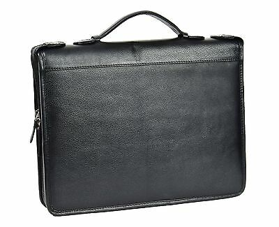Real Leather Document Conference Folder Folio Case With Grab Handle Black