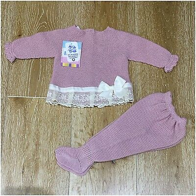Girls dusky pink and cream Spanish knitted set