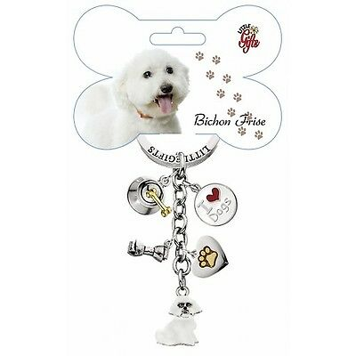 Bichon Frise Little Gifts DOG Hand Painted Enamel Key Chain Ring with 5 Charms