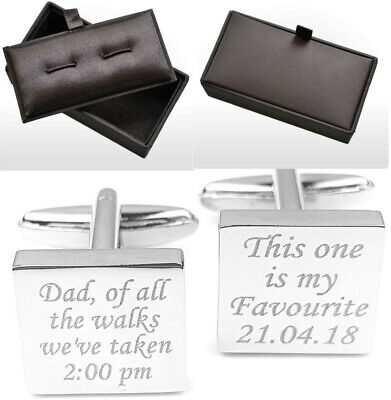 Personalised Engraved Wedding Cufflinks Father of the Bride Dad gift  BLK