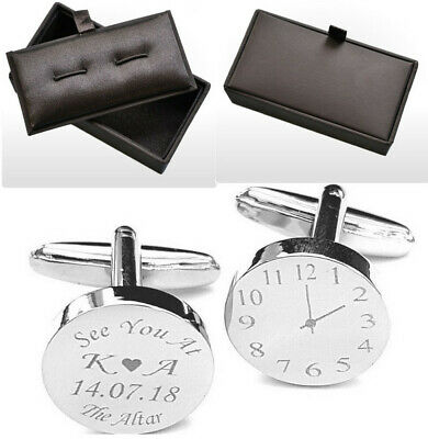 PERSONALISED SILVER ENGRAVED ROUND mens wedding cufflinks Groom ...