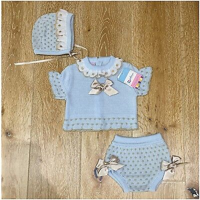 Girls baby blue and beige Spanish knitted jam pants  set