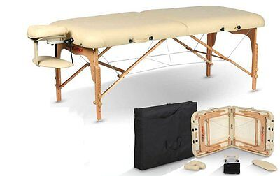 Deluxe Body Choice portable massage table in cream.