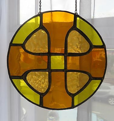 Sun Disc! Lovely Round Golden Stained Glass Suncatcher  - pewtermoonsilver
