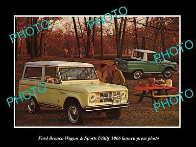 Old Large Historic Photo Of 1966 Ford Bronco Wagon & Ute Launch Press Photo