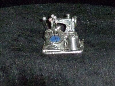 Pewter Sewing Machine And Thimble Pin Cushion