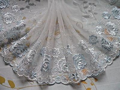 """1 Yard~7""""~Lace Trim Embroidered Floral Bridal Wedding Dress Pale Blue & White"""