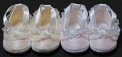 Christening shoes slippers baby girl white ivory lace rosebud