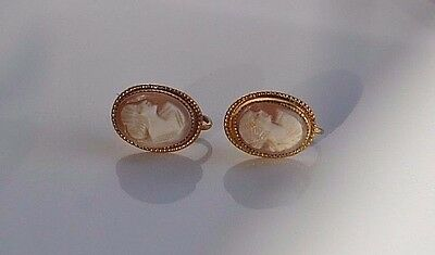 Antique Victorian hand carved shell cameo screw back earrings gold tone frame