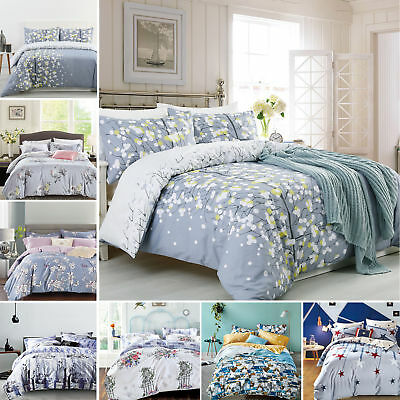 Luxury 100% Cotton Duvet Cover with Pillow Case Quilt Cover Bedding Set All Size