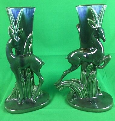 Pair Of Haeger Standing And Jumping Gazelle Vase Iridescent Green
