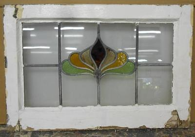 "MID SIZED OLD ENGLISH LEADED STAINED GLASS WINDOW Sweet Floral 24"" x 16.25"""
